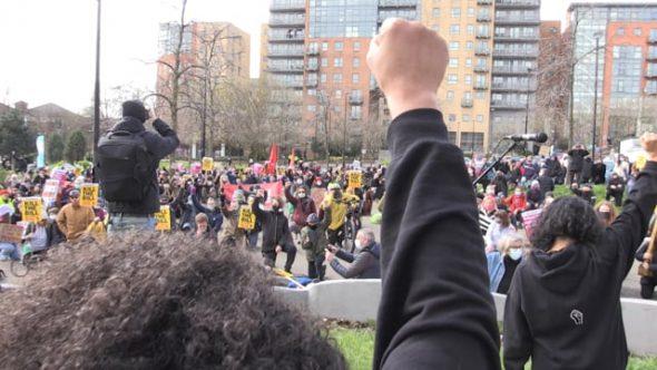 Hundreds join Kill the Bill demonstration on Devonshire Green